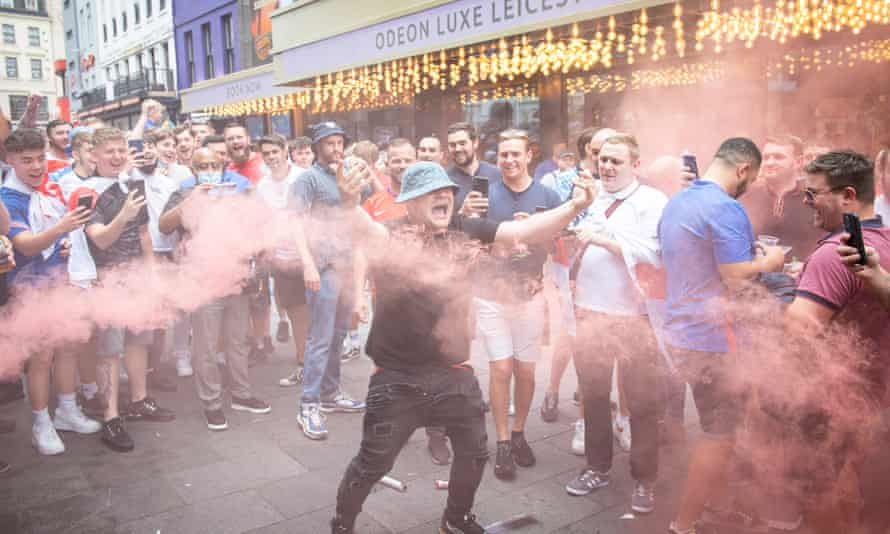 England fans in the West End before the Euros final against Italy.