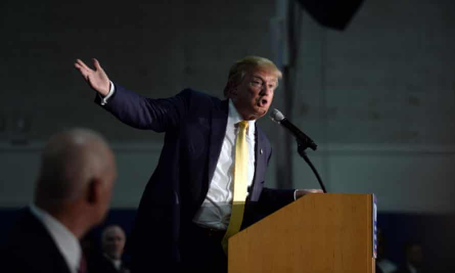 Donald Trump speaks at a town hall meeting in New Hampshire