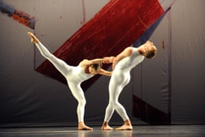Daniel Squire and Andrea Weber in Xover by Merce Cunningham, with a backdrop by Robert Rauschenberg, at the Barbican, London, in 2008.