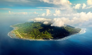 Aerial view at Rarotonga island.