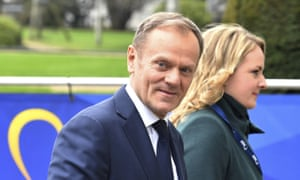 Donald Tusk, the European council president, arrives for talks in Brussels.