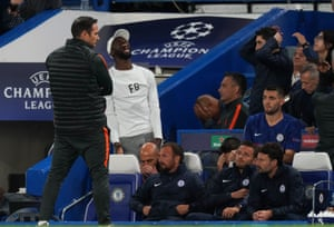 As Ross Barkley misses a penalty, Chelsea Manager Frank Lampard turns away, and Antonio Rudiger shouts in frustration.