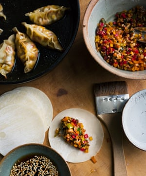 It's a wrap: mushroom and chard gyoza, with sesame dip.