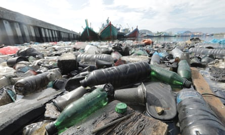 Plastic pollution near the traditional fishing port in Lam Pulo, Banda Aceh, Indonesia.