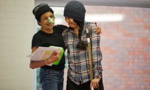 Kathryn Hunter, left, as Cyrano with Tina Chiang as Le Bret.