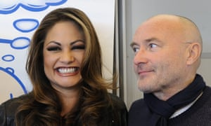 Phil Collins poses with his former wife Orianne during a press conference about their Little Dreams Foundation in 2010 in Nyon, Switzerland.
