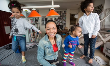 Oona King at home with her family