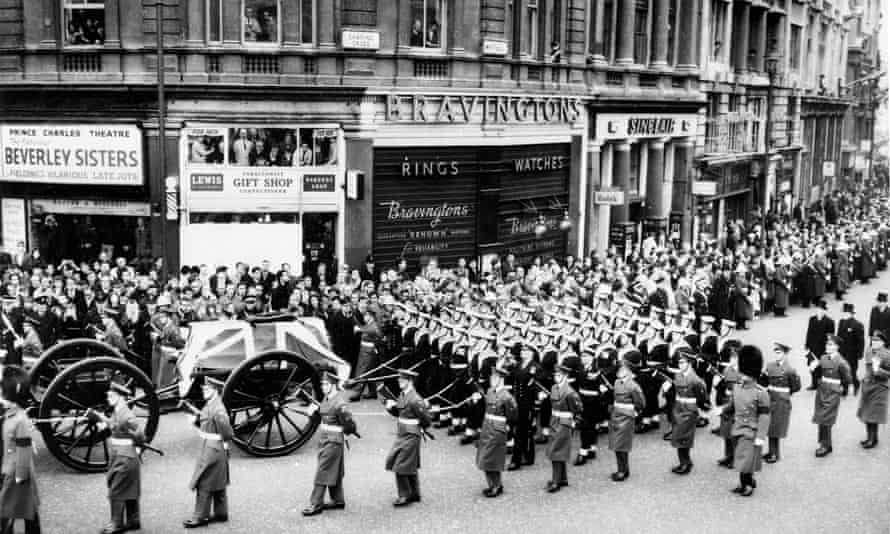 Winston Churchill's funeral cortege in London, in 1965.