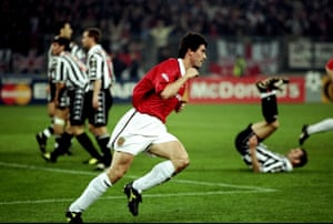 Roy Keane wheels away after scoring in Manchester United's stunning Champions League semi-final win at Juventus in 1999.