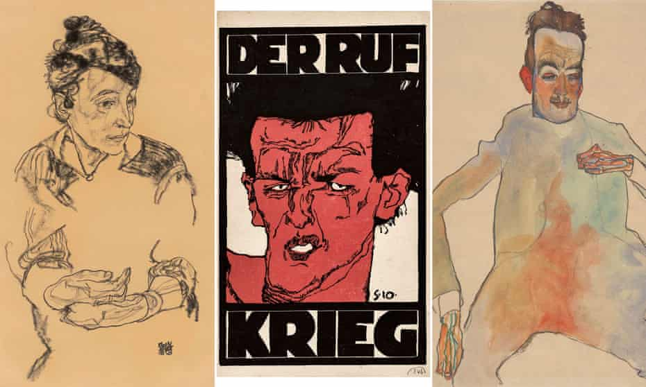 Schiele's prodigious brilliance (l-r): his mother, Marie, 1918; his grimacing 1910 self-portrait on the cover of Der Ruf's 1912 war issue; and Cellist, 1910. © Albertina Museum, Vienna