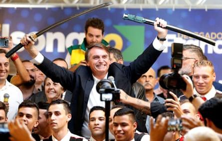Jair Bolsonaro during a rally in Curitiba, Brazil, on 29 March.