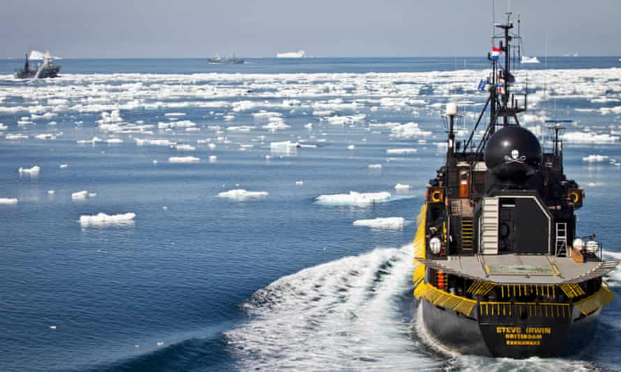 A Sea Shepherd ship chases down Japanese whaling vessels in the Southern Ocean off Antarctica