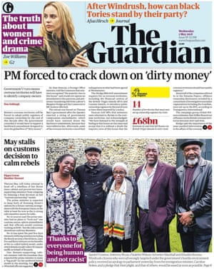 Guardian front page, Wednesday 2 May 2018