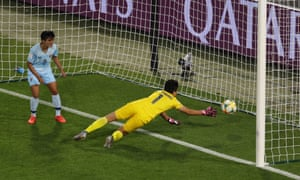 Thailand's Waraporn Boonsing scores an own goal and Chile's first.