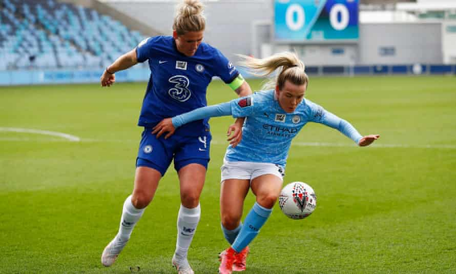 Lauren Hemp holds off Chelsea's Millie Bright during a fine performance from the Manchester City winger.