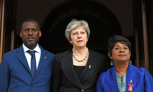 Baroness Lawrence (right) and her son Stuart with prime minister Theresa May before a memorial service to mark the 25th anniversary of the murder of Stephen Lawrence.