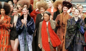 The designer Kenzo, centre, takes to the catwalk after showing a ready-to-wear autumn/winter collection in Paris in the late 1990s.