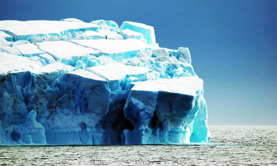 An iceberg with crevasses in the Weddell Sea, Antarctica