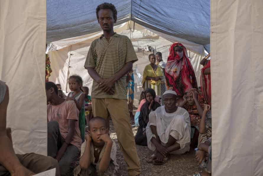 Tigray refugees wait for treatment at a clinic run by Médecins Sans Frontières in December.