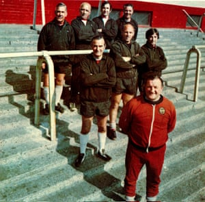 Bob Paisley his assistants pose outside Anfield.