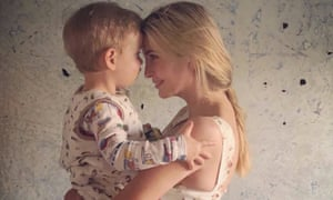 The photo Ivanka Trump tweeted of her cuddling her son.