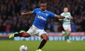 Alfredo Morelos's efforts to end his scoring duck for Rangers against Celtic were thwarted by Fraser Forster who made a string of saves against him.