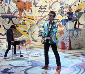 Barmy army … Elvis Costello and the Attractions performing Oliver's Army on The Kenny Everett Video Show in 1979.