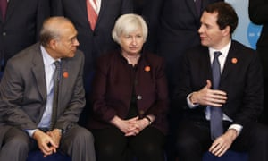 OECD secretary general Jose Angel Gurria, US Federal Reserv chair Janet Yellen and British chancellor of the exchequer George Osborne chat during a G20 photocall.