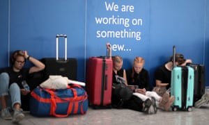 Passengers waiting at Heathrow airport on Wednesday.