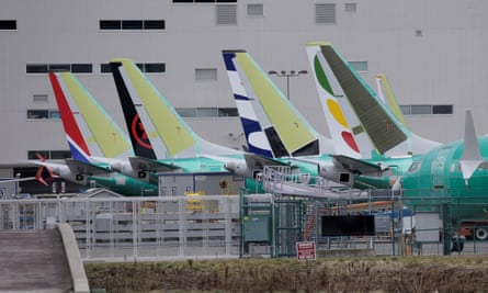 The tails of Boeing 737 Max aircraft at a Boeing production facility in Renton, Washington, US.