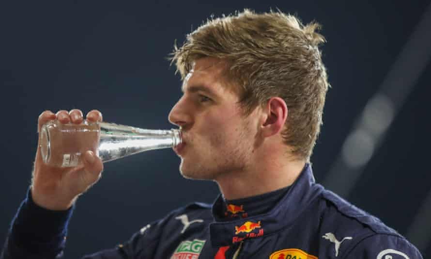 Max Verstappen of Red Bull cools down after qualifying