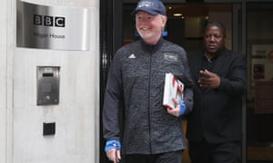 Chris Evans leaves BBC Wogan House after presenting his Breakfast Show as it was revealed he was the highest paid star at the corporation.