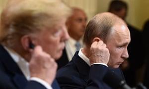 Donald Trump and Vladimir Putin together in Helsinki.