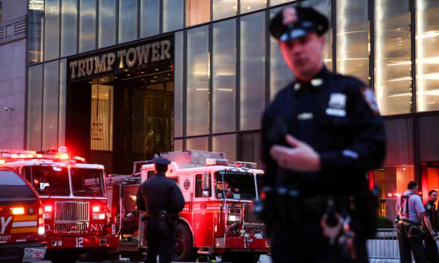 Emergency services outside Trump Tower.