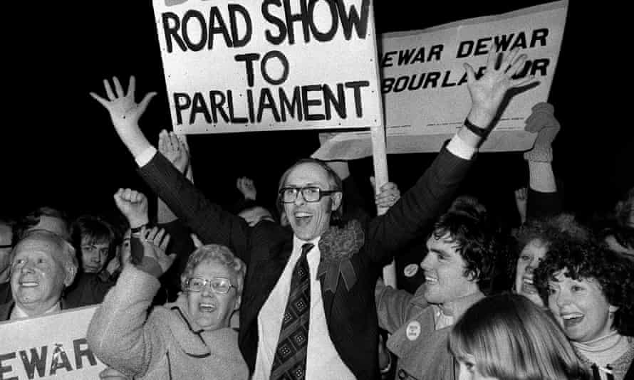 Labour's Donald Dewar celebrates winning his Glasgow seat in 1978, re-entering Parliament after eight years. Later Scotland's inaugural first minister, he campaigned for Devolution in the 1979 referendum.