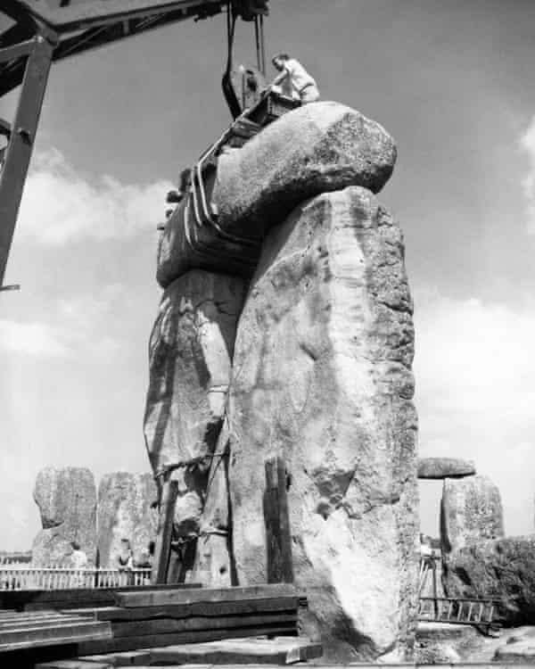 Restoration of Stonehenge in 1958.