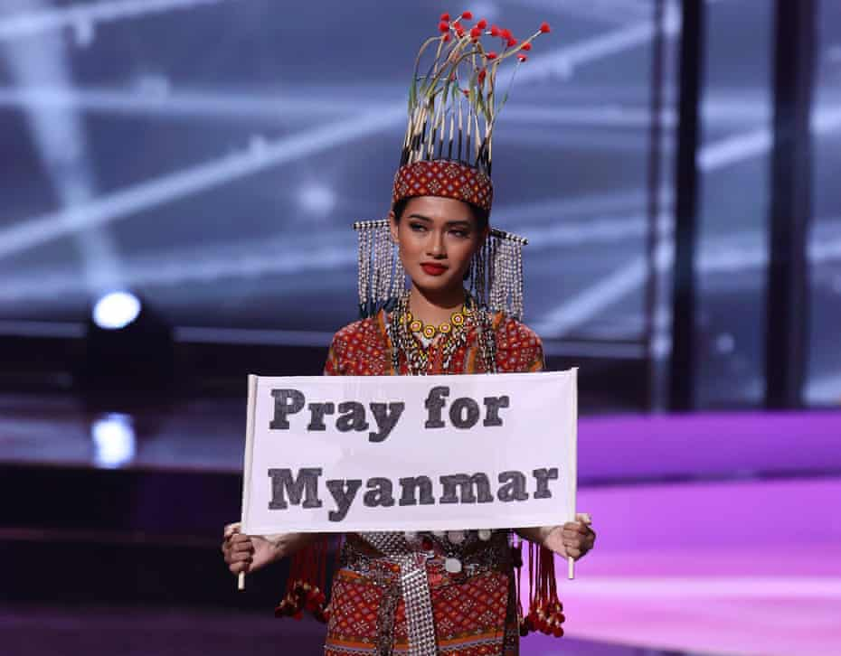 Thuzar Wint Lwin, Myanmar's contestant at the Miss Universe pageant in Florida, wearing a traditional costume of the Chin ethnic minority in Myanmar