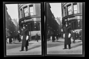 Policeman directing traffic outside of the Cannon Hotel, 1930, quarter plate, approx. 108mm x 83mm negative images £200-£300