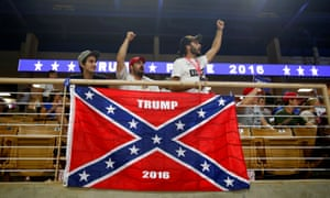 Trump supporters cheer before a campaign rally at the Silver Spurs arena in Kissimmee, Florida.