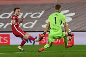 Diogo Jota shoots under pressure from Bernd Leno.