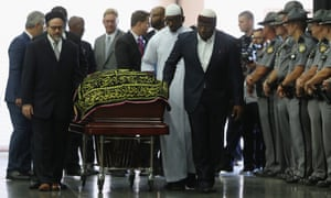 The casket carrying Muhammad Ali arrives for a prayer service at the Kentucky Exposition Center in Louisville, Kentucky.