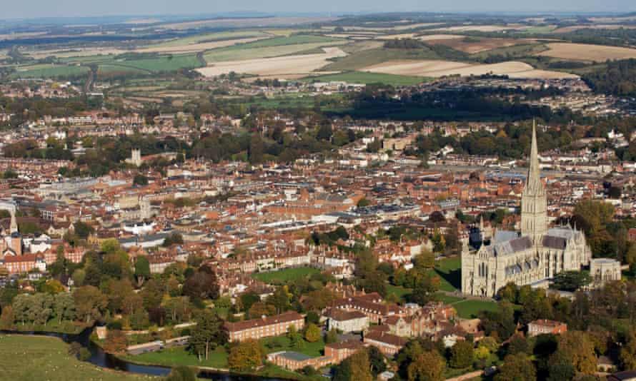 An aerial shot of Salisbury, Wiltshire