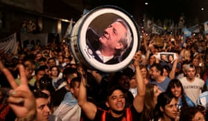Supporters of presidential candidate Alberto Fernández, and his running mate and former president Cristina Fernández de Kirchner