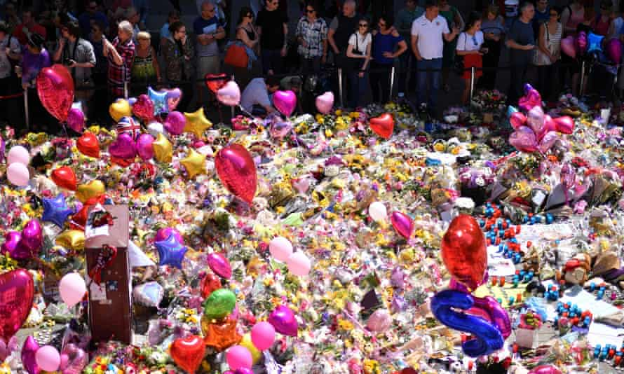 A carpet of messages of support and floral tributes to the victims of the Manchester attack0 in St Ann's Square.