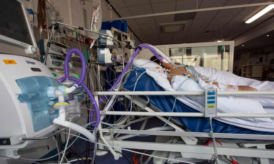 ICU bed in The Western General Hospital, Edinburgh, Scotland