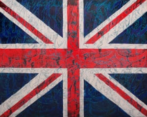 'A plea for peace' … one of Fereydoon Omidi's union jack series, on show at Sensation, the Cama Gallery show..