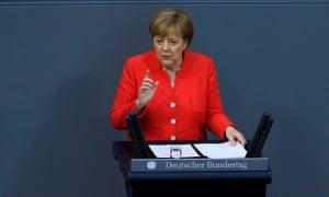 Angela Merkel delivers a speech at the Bundestag