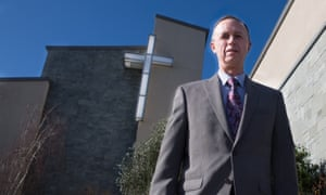 Mark Hoff in front of hus church in Lodi.