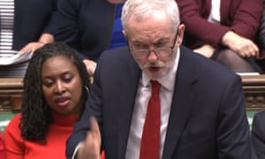 Labour leader Jeremy Corbyn at prime minister's questions