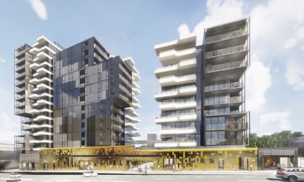 The proposed $65m apartment project on the site of the Festival Hall in west Melbourne.